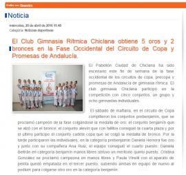 El Club Gimnasia Rítmica Chiclana obtiene 5 oros y 2 bronces en la Fase Occidental del Circuito de Copa y Promesas de Andalucía.